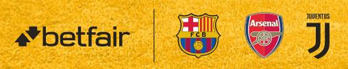 betfair patrocina al Barça, Arsenal y Juve