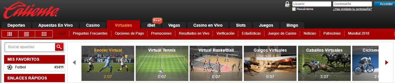 Caliente Juegos virtuales
