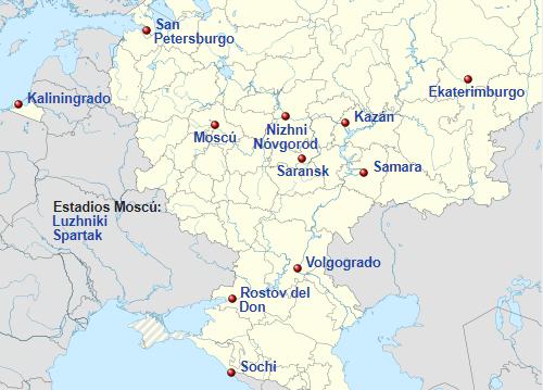 Sedes del Mundial de 2018