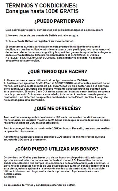 TÉRMINOS Y CONDICIONES BETFAIR ESPAÑA