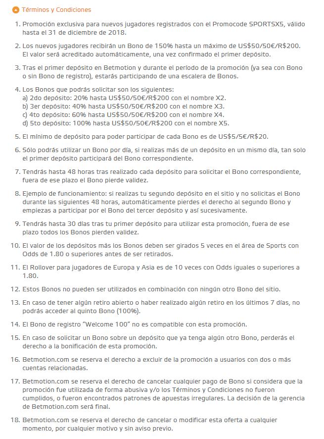 Términos y condiciones del Promocode Betmotion