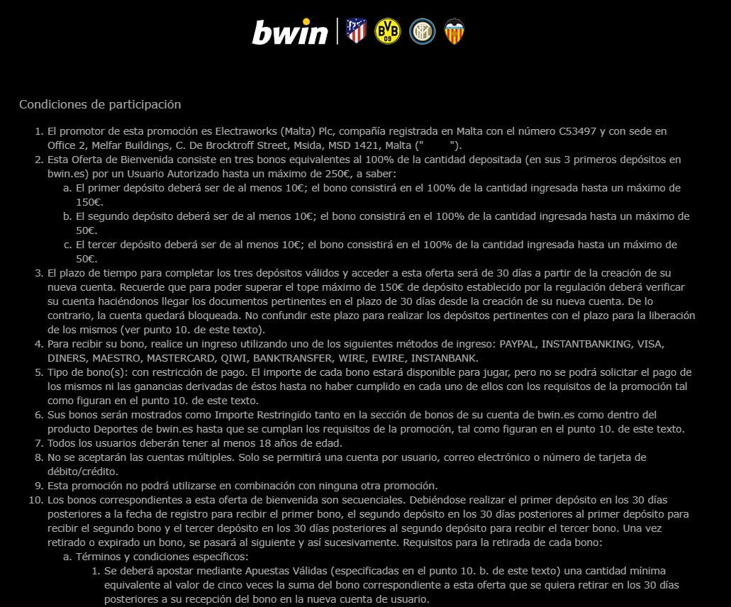 términos y condiciones bono bwin