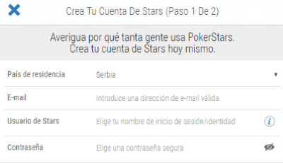 Pokerstars Formulario de Registro