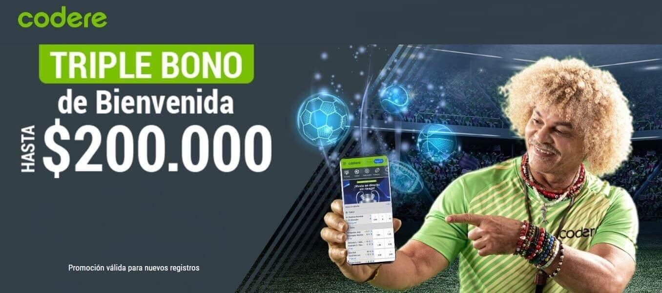 Código Promoción Codere: Obtén el triple bono de hasta $200.000